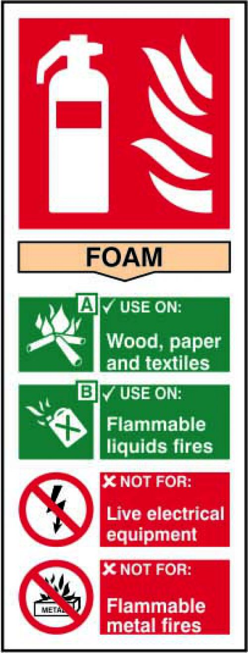 Self adhesive semi-rigid PVC Fire Extinguisher Foam Sign (75x200mm). Easy to fix, simply peel off the backing and apply to a clean dry surface.