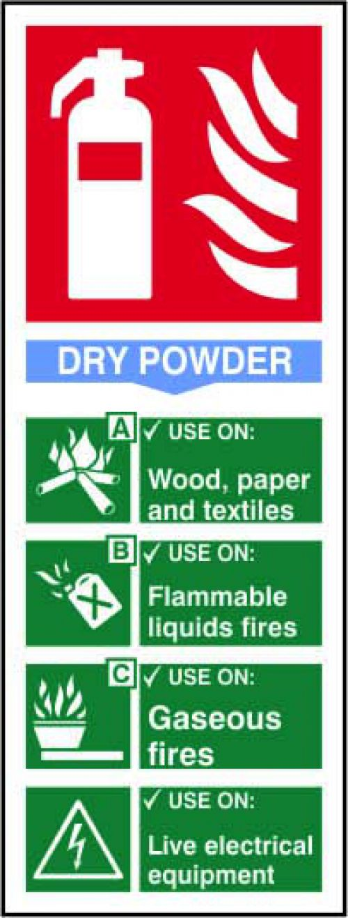 Self adhesive semi-rigid PVC Fire Extinguisher Composite Dry Powder Sign (75x200mm). Easy to fix, peel off the backing and apply to clean dry surface.