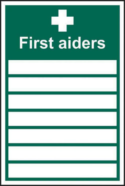 First Aiders____ sign (200mm x 300mm).  Easy to use and fix, just peel, stick and apply to a clean, dust free, dry and flat surface.
