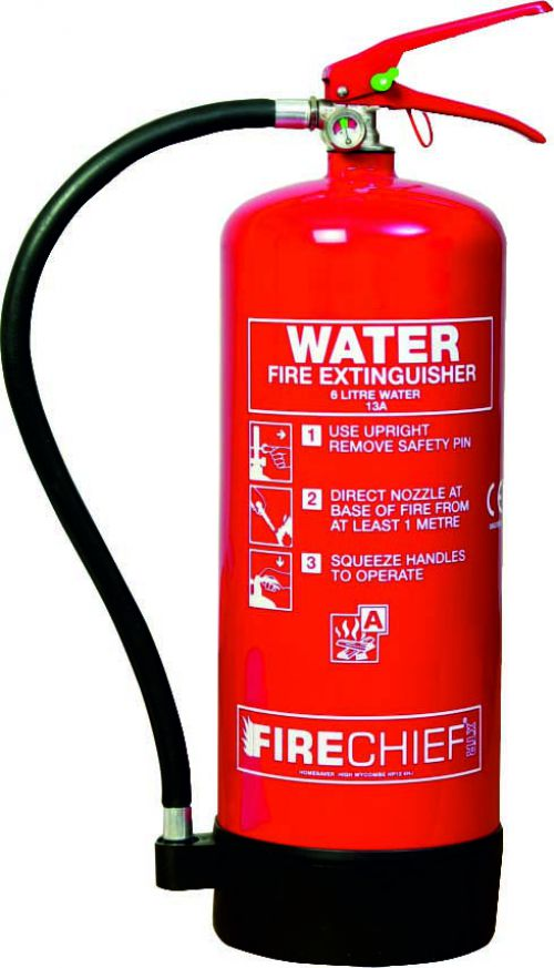6 litre Spray Water (13A) Fire Extinguisher with corrosion resistant finish, internal polyethylene lining and squeeze grip operation.