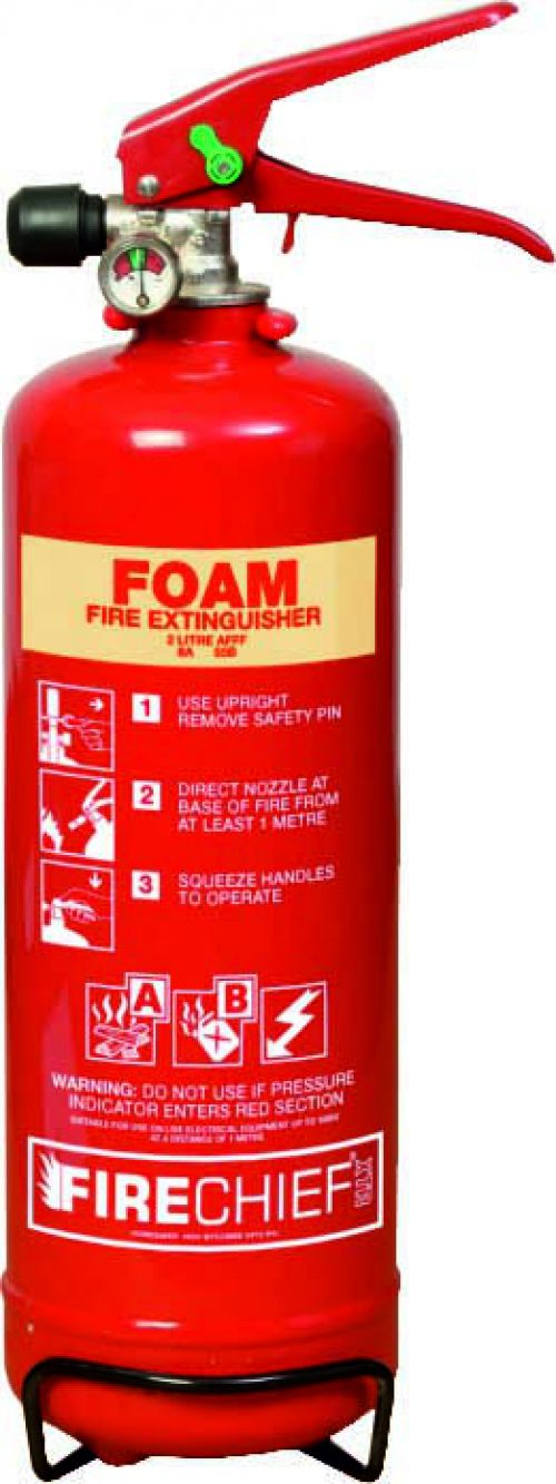 2 Litre Foam (8A 55B) Fire Extinguisher with spray nozzle, corrosion resistant finish, internal polyethylene lining and squeeze grip operation.