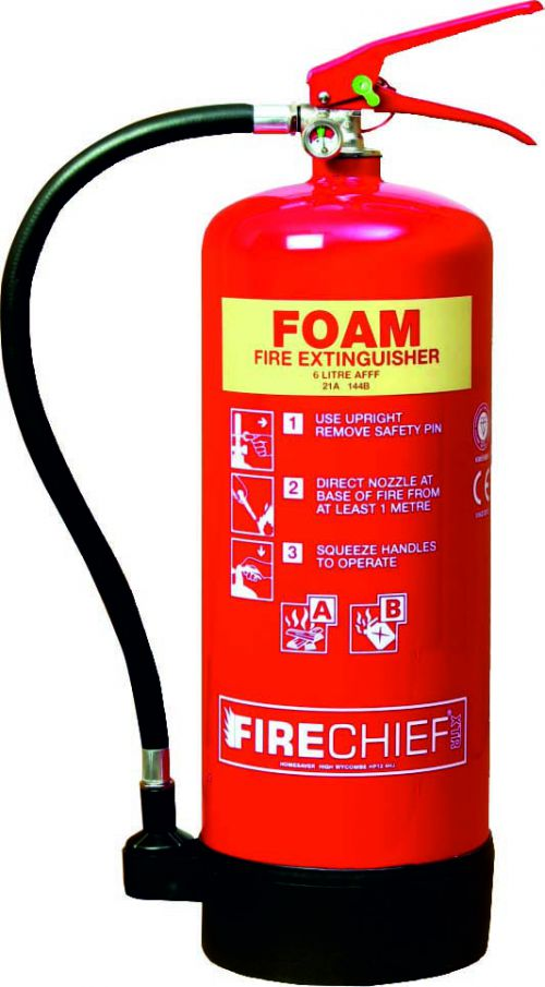 9 Litre Foam (27A 233B) Fire Extinguisher with spray nozzle, corrosion resistant finish, internal polyethylene lining and squeeze grip operation.