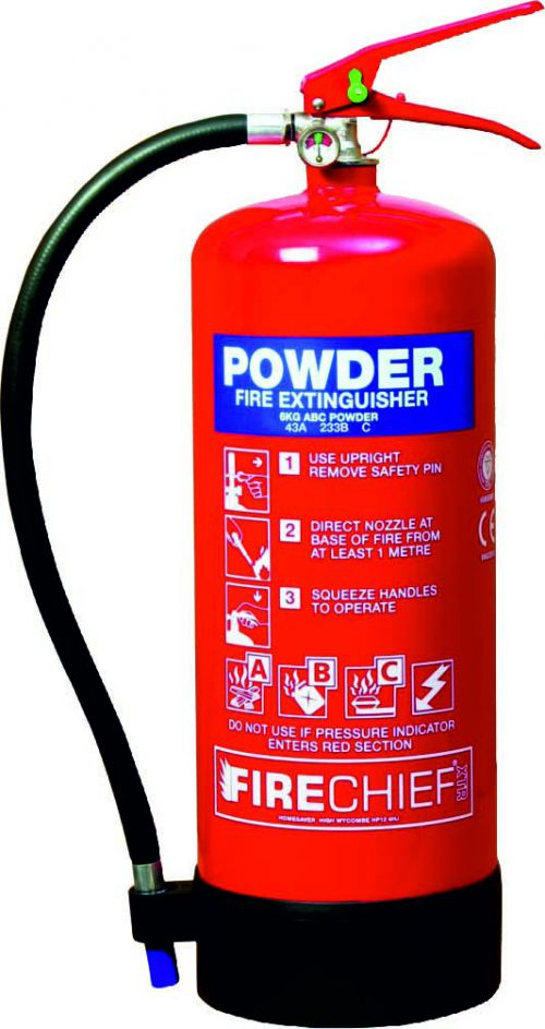 6kg ABC Powder (43A 233B) Fire Extinguisher with corrosion resistant finish and squeeze grip operation. Comes with a 5 year guarantee.