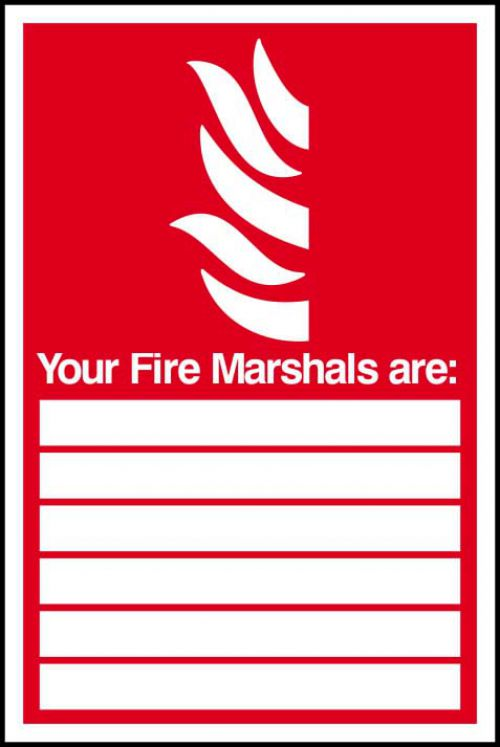 Fire Marshals Are sign (200 x 300mm). Manufactured from strong rigid PVC and is non-adhesive, 0.8mm thick.