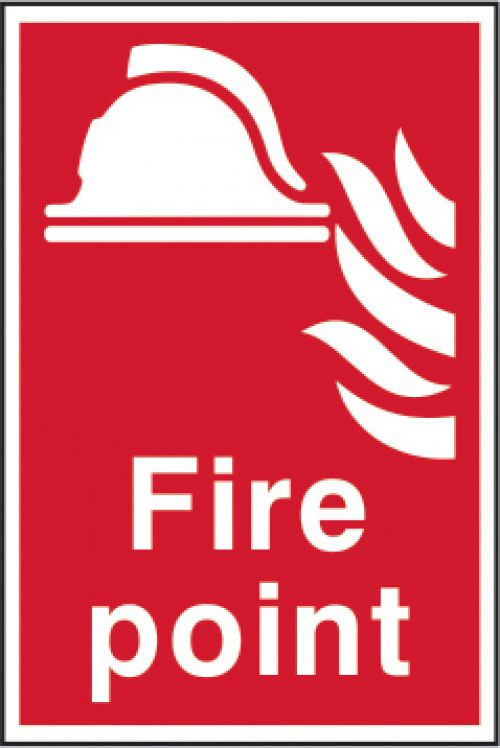 Self adhesive semi-rigid PVC Fire Point Sign (200 x 300mm). Easy to fix, simply peel off the backing and apply to a clean dry surface.