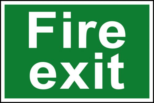 Self adhesive semi-rigid PVC Fire Exit sign (300 x 200mm). Easy to fix, simply peel off the backing and apply to a clean dry surface.