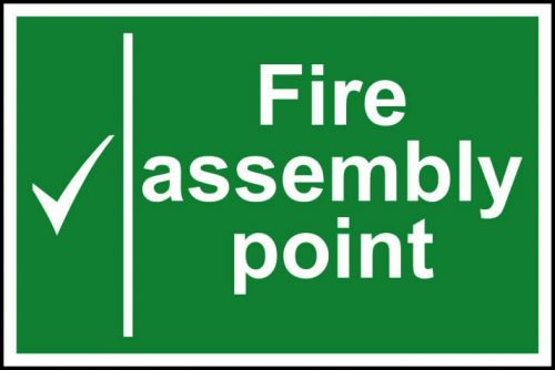 Self adhesive semi-rigid PVC Fire Assembly Point sign (300 x 200mm). Easy to fix, simply peel off the backing and apply to a clean dry surface.