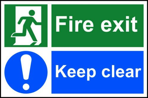 Self adhesive semi-rigid PVC Fire Exit Keep Clear safety instruction sign (300x200mm). Easy to fix, peel off backing and apply to a clean dry surface.