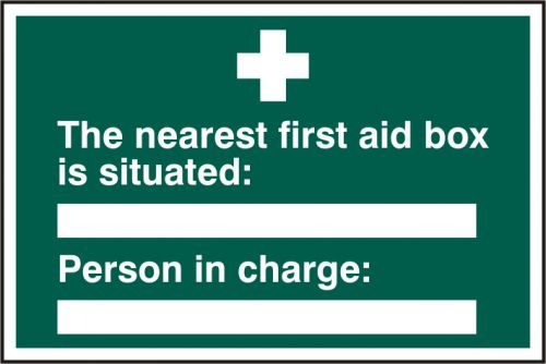 Self adhesive semi-rigid PVC The Nearest First Aid Box Is Situated/Person In Charge sign (300 x 200mm). Easy to fix.