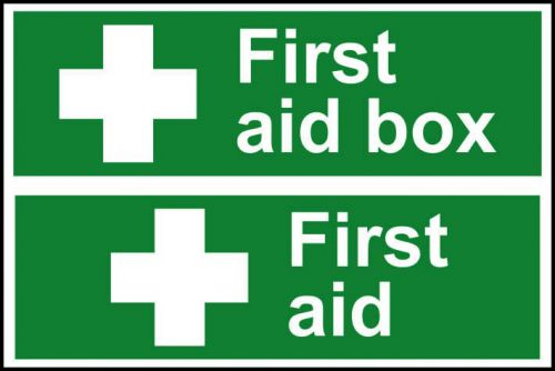 Self adhesive semi-rigid PVC First Aid Box/First Aid Sign (300 x 200mm). Easy to fix, simply peel off the backing and apply to a clean dry surface.