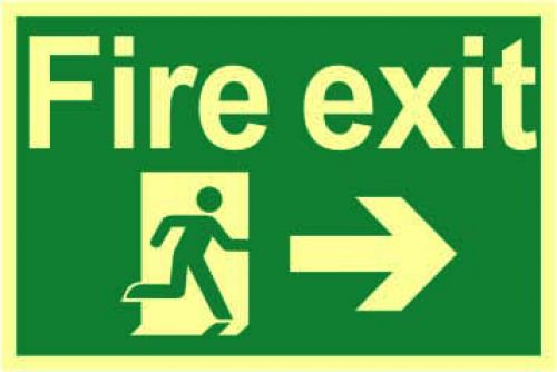 FireExitRunManArrwRhtSignRigidS/ALum.Brd