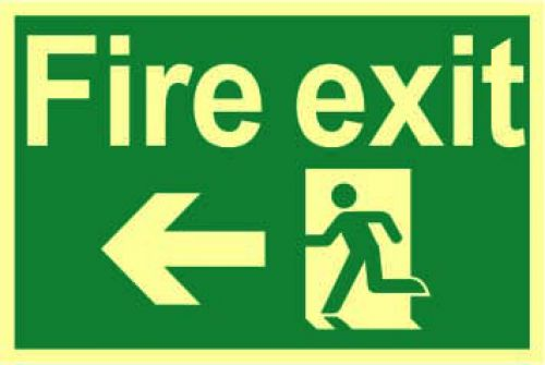 Fire Exit Sign with running man and arrow left (300 x 200mm). Made from 1.3mm rigid photoluminescent board (PHO) and is self adhesive.