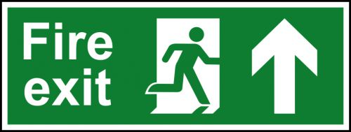 Self adhesive semi-rigid PVC Fire Exit Sign with running man and arrow up (400x150mm). Easy to fix, peel off the backing, apply to clean dry surface.