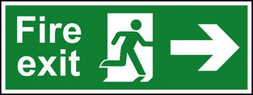 Self adhesive semi-rigid PVC Fire Exit Sign. Running man and arrow right (400x150mm). Easy to fix, peel off the backing, apply to a clean dry surface.