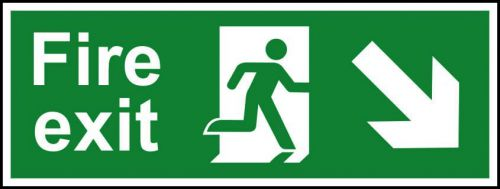 Self adhesive semi-rigid PVC Fire Exit Sign. Running man, arrow down right (400x150mm). Easy to fix, peel off the backing, apply to clean dry surface.