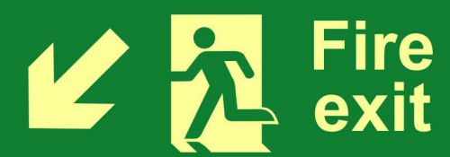 Fire Exit Sign with running man and arrow down left (400 x 150mm). Made from flexible photoluminescent board (PHS).