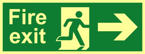 Fire Exit Sign with running man and arrow right (400 x 150mm). Made from flexible photoluminescent board (PHS).