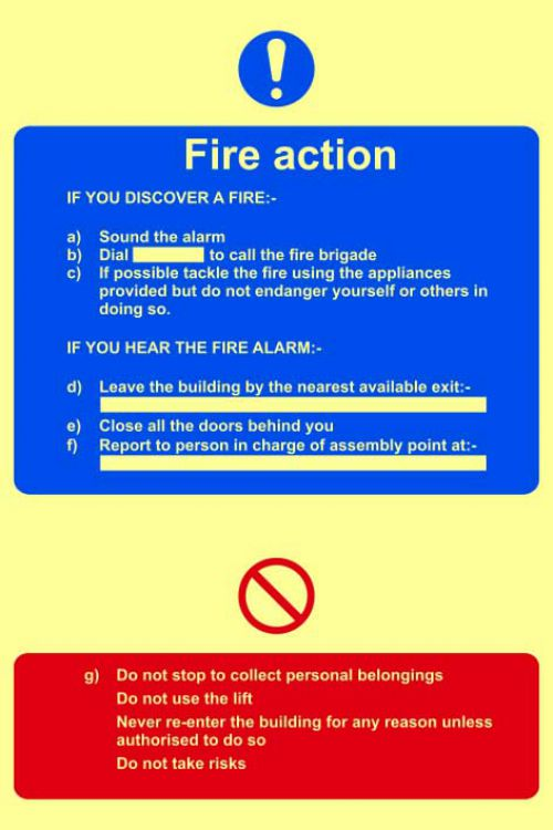 Fire Action procedure Sign (200 x 300mm). Made from flexible photoluminescent board (PHS).