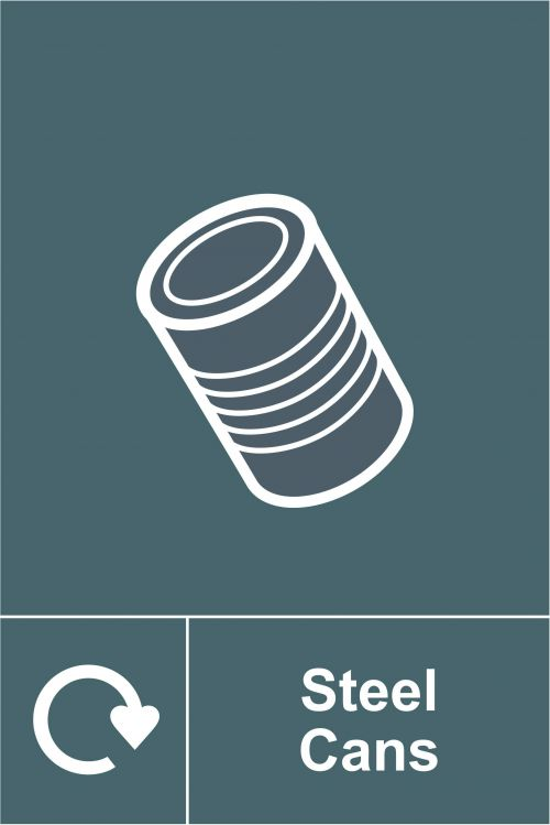 Steel Cans Recycling Sign (150 x 200mm). Manufactured from strong rigid PVC and is non-adhesive, 0.8mm thick.