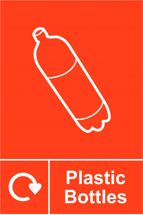Plastic Bottles Recycling Sign (150 x 200mm). Manufactured from strong rigid PVC and is non-adhesive, 0.8mm thick.