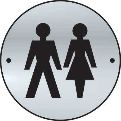Unisex Graphic Door Disc made from 1.5mm thick satin anodised aluminium (SAA) (75mm diameter). Complete with screws.