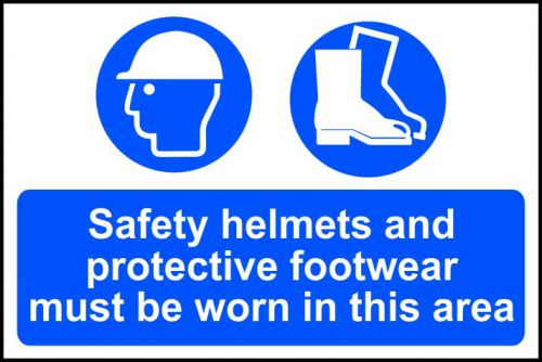 Self adhesive semi-rigid PVC Safety Helmets And Protective Footwear Must Be Worn In This Area Sign