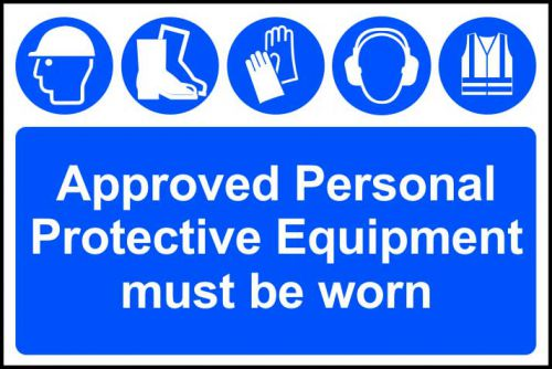 Self adhesive semi-rigid PVC Approved Personal Protective Equipment Must Be Worn Sign (600 x 400mm).