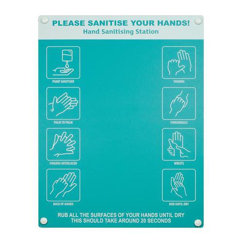 Hand sanitiser board no dispenser - 6 image design - Turquoise (300 x 400mm)