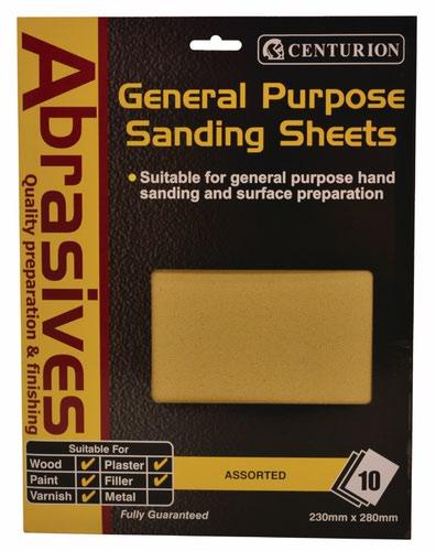 10 Assorted Sandpaper Pack