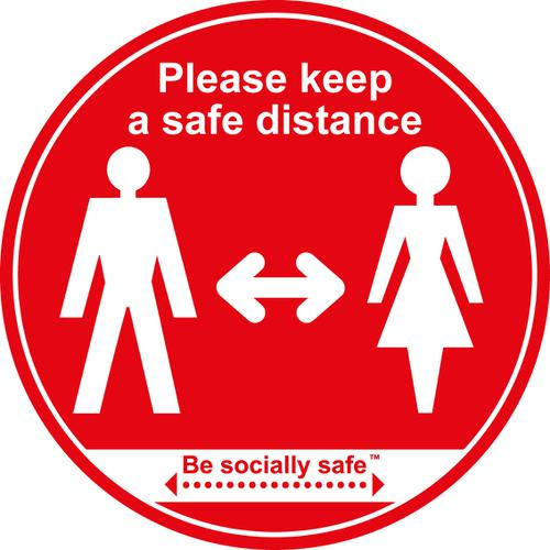 Please Keep Safe Distance Apart; Self Adhesive Floor Graphic; Red (400mm)