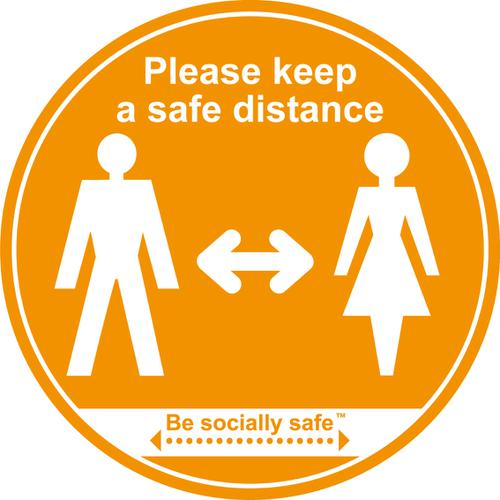 Please Keep Safe Distance Apart; Self Adhesive Floor Graphic; Amber (400mm)