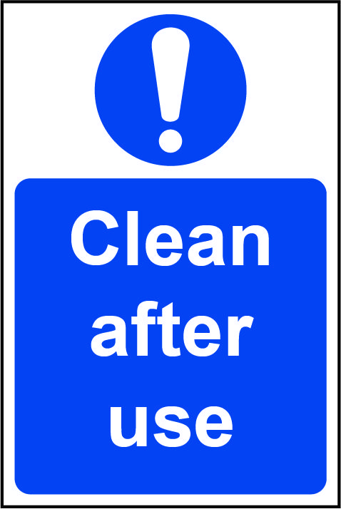 Clean After Use Rigid PVC Wall Sign