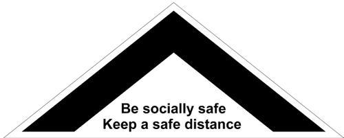 Floor Distance Chevron Keep Safe Distance Floor Graphic; Self Adhesive Vinyl Laminated (800 x 320mm)