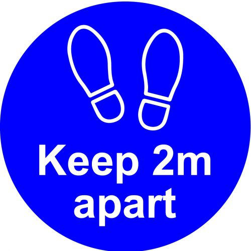 Blue Social Distancing Self Adhesive Floor Distance Marker (200mm dia.)