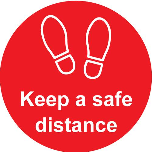 Keep A Safe Distance Floor Graphic, Self Adhesive Vinyl Laminated, Red (200mm dia)
