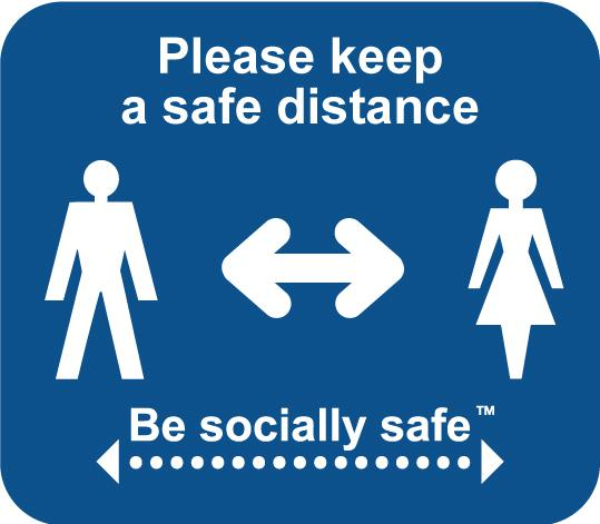 Please Keep A Safe Distance Label; Self Adhesive Vinyl Laminated; Turquoise (190mm dia) 25pk