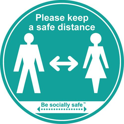 Please Keep A Safe Distance Label; Self Adhesive Vinyl Laminated; Blue (190 x 166mm) 25pk