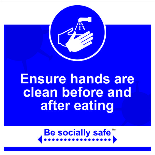 Clean hands before eating sign blue RPVC