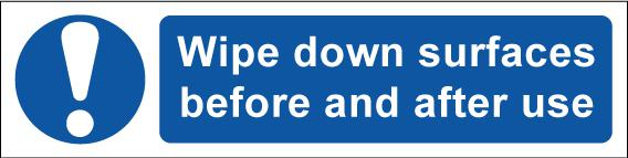 Wipe Down Surfaces Before And After Use Sign; Self Adhesive Semi Rigid PVC (200 x 50mm