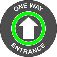 Green/White Social Distancing Floor Graphic - One Way Entrance (400mm dia.)