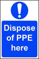 Mandatory Self-Adhesive Vinyl Sign (200 x 300mm) - Dispose Of PPE Here