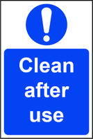 Mandatory Self-Adhesive Vinyl Sign (200 x 300mm) - Clean After Use
