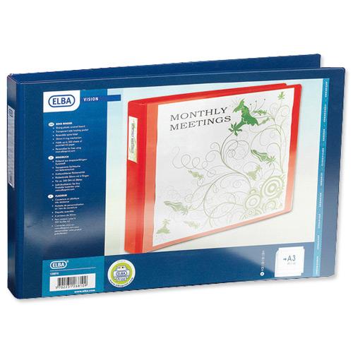 Elba Vision Ring Binder PVC Front Pocket 4 O-Ring Size 30mm A3 Landscape Blue Ref 100080865 [Pack 5]