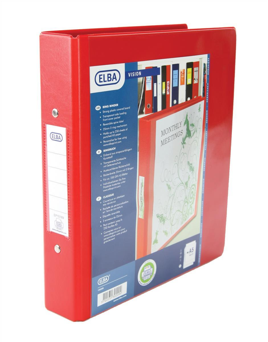 Elba A5 Plastic 2 Ring Binder 25mm Capacity Red