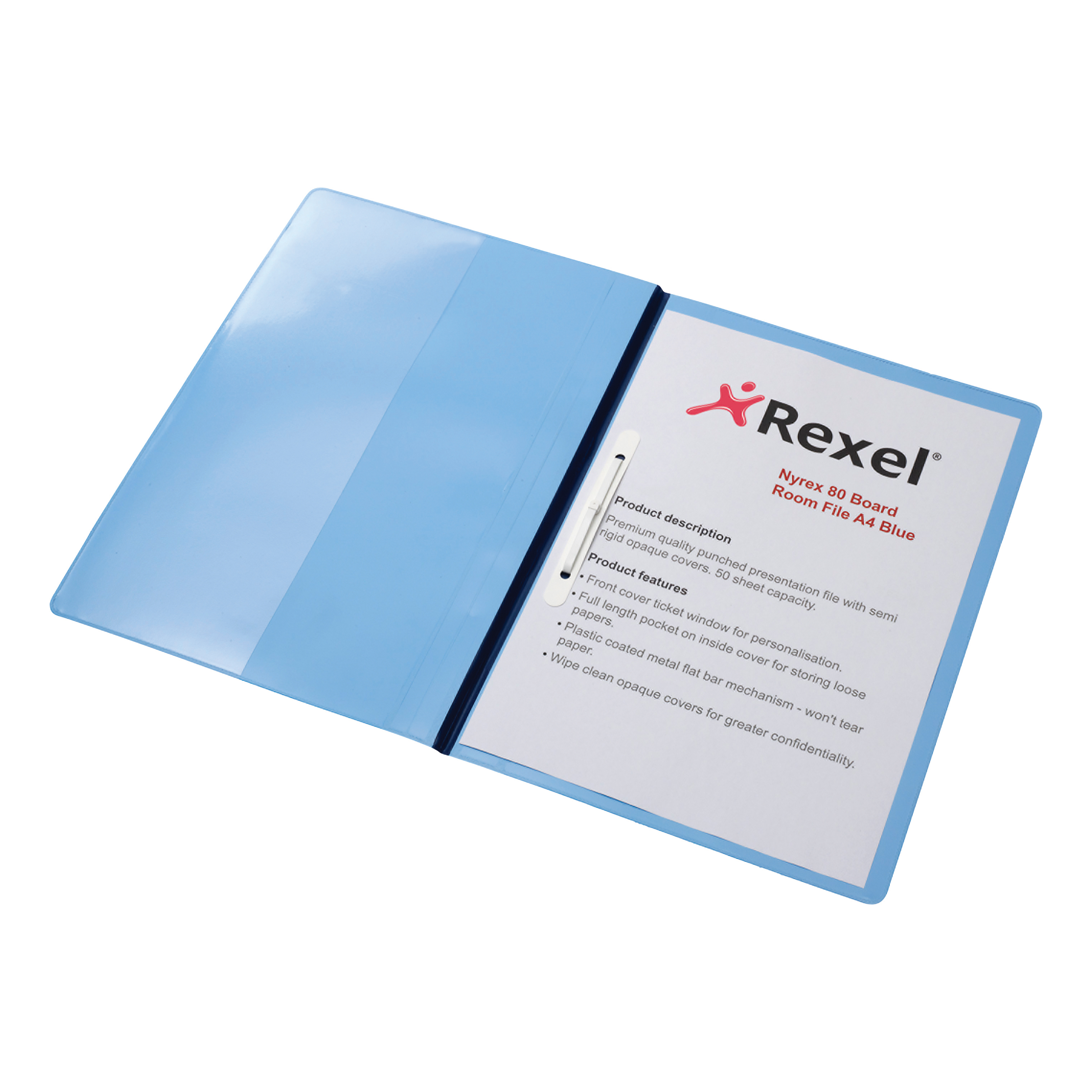Rexel Nyrex Boardroom Flat Bar File Semi-rigid with Inside Front Full Pocket A4 Blue Ref 13035BU [Pack 5]
