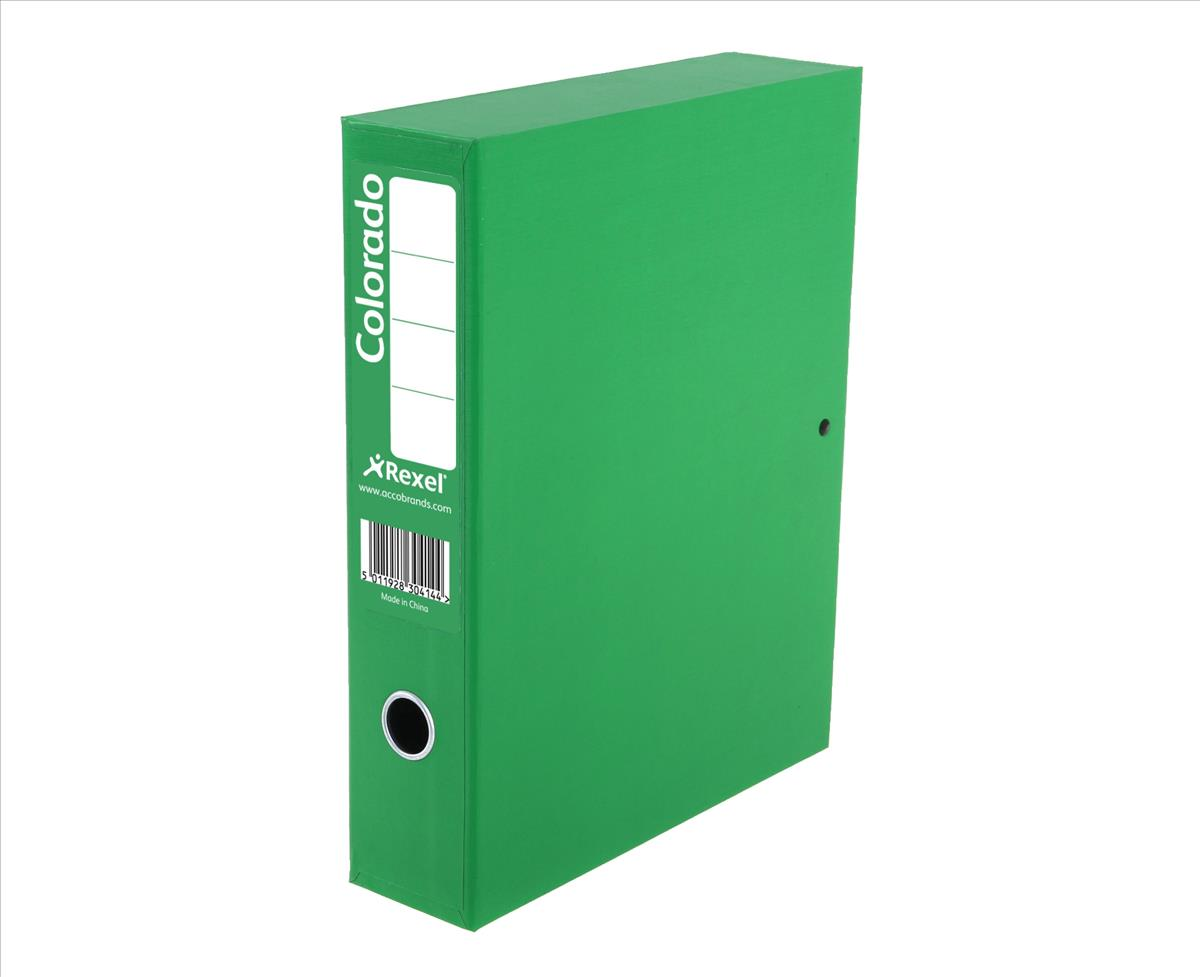 Rexel Colorado Box File with Lock Spring 70mm Spine A4 Green Code 30444EAST