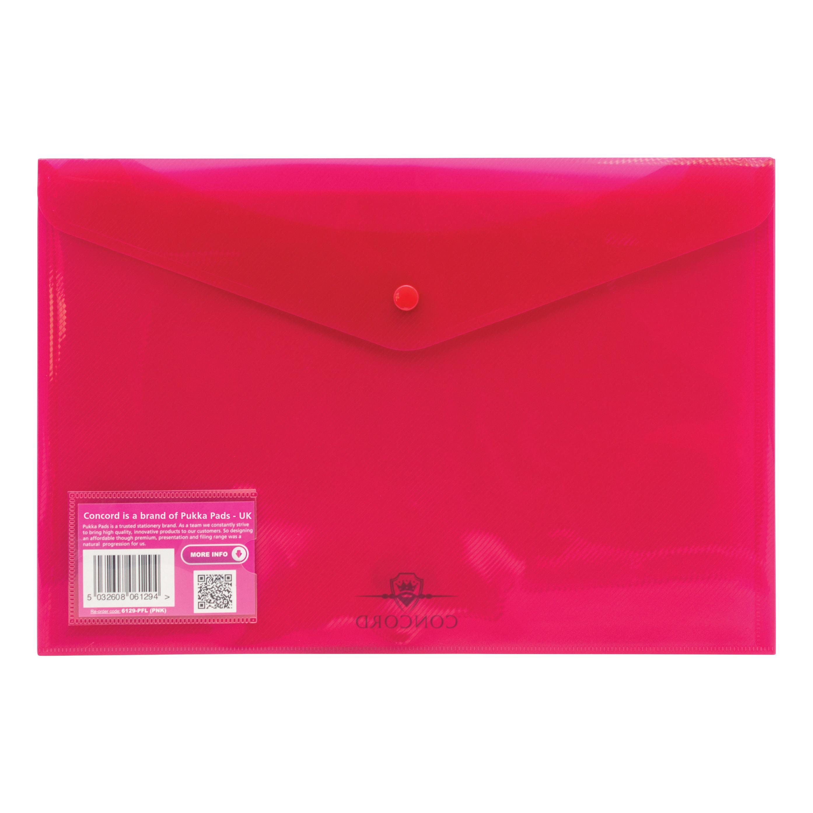 Concord Stud Wallet File Vibrant Polypropylene Foolscap Pink Ref 6129-PFL (PNK) [Pack 5]