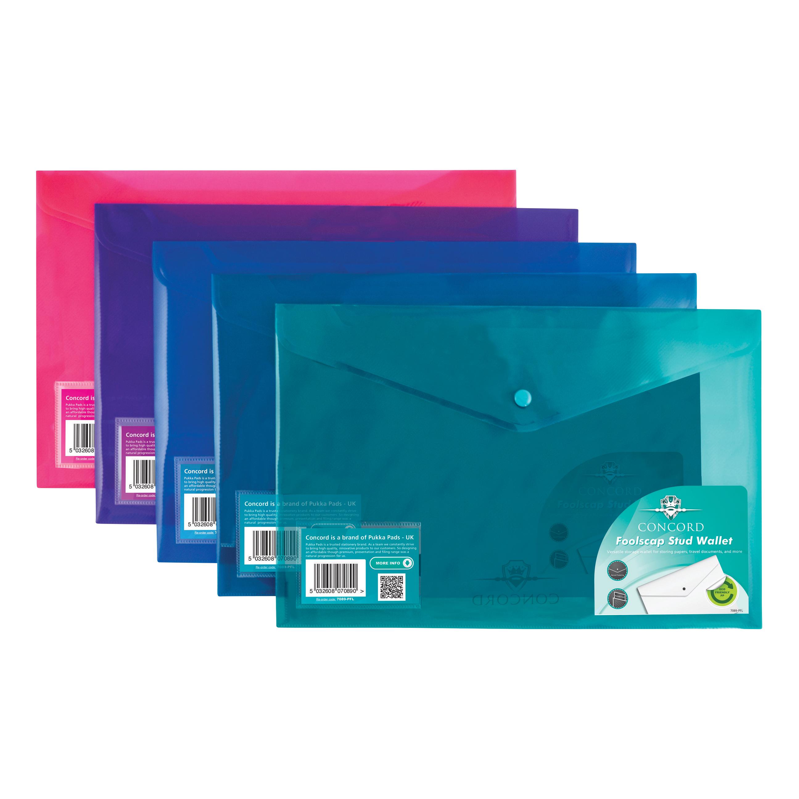 Image for Concord Stud Wallet File Vibrant  Polypropylene Foolscap Assorted Ref 7089-PFL [Pack 5]