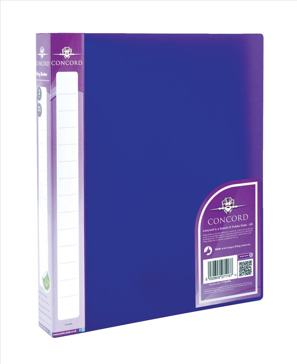 Concord Vibrant Ring Binder A4 Polypropylene 2 O-Ring 25mm Purple Pack 10