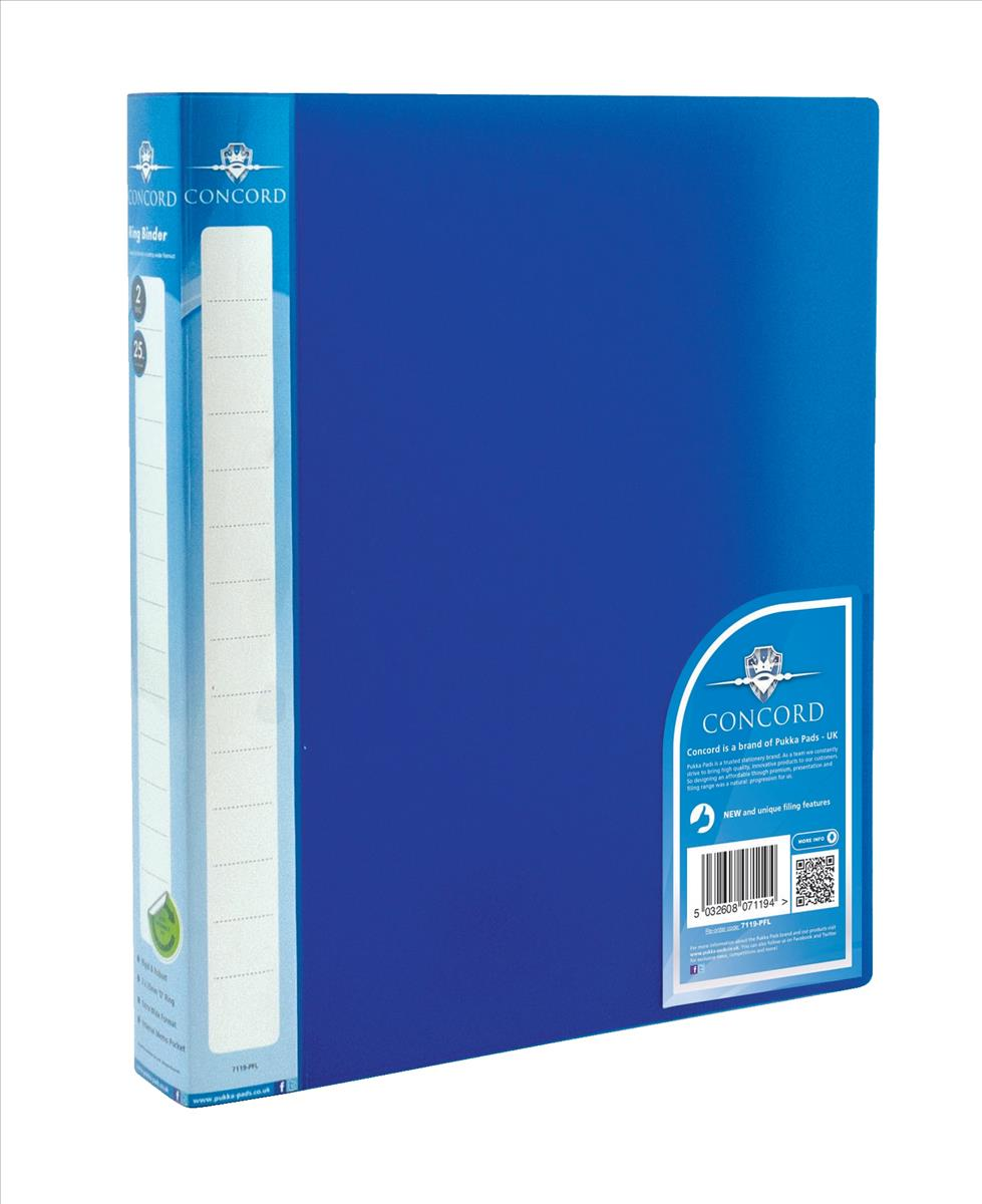 Concord Vibrant Ring Binder A4 Polypropylene 2 O-Ring 25mm Blue Pack 10